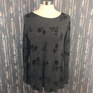 Ann Taylor Loft Gray Black Knit Floral Sweater XL